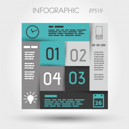 turquoise and grey infographic square with business icons. infographic concept.
