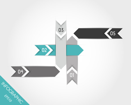 turquoise arrows elements with numbers. infographic concept. Vector