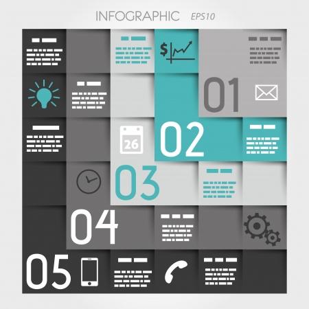 turkoois vijf L opties vierkante infographic met pictogrammen. infographic concept.