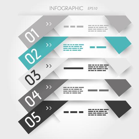 turquoise five oblique long sticker options. infographic concept.