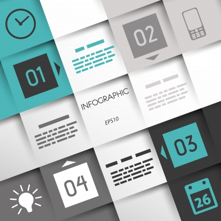 turquoise square infographic four options in corners with business icons. infographic concept.