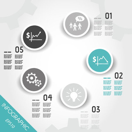 turquoise striped circle buttons with with business icons. infographic concept.