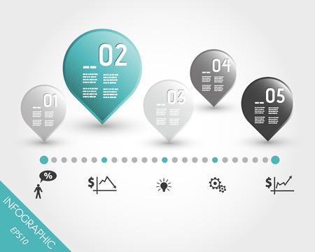 turquoise tijdlijn met knoppen en het bedrijfsleven iconen. infographic concept.