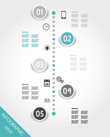 five elements: turquoise timeline with buttons and icons. infographic concept.