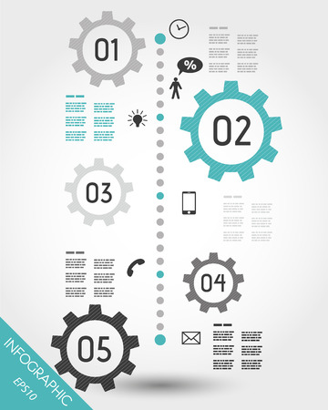 turquoise timeline with mobile icons. infographic concept.