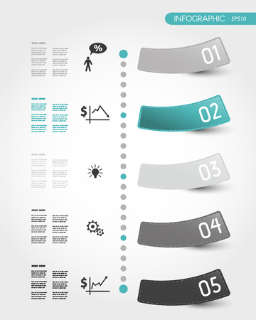 five elements: turquoise timeline with stickers. infographic concept.