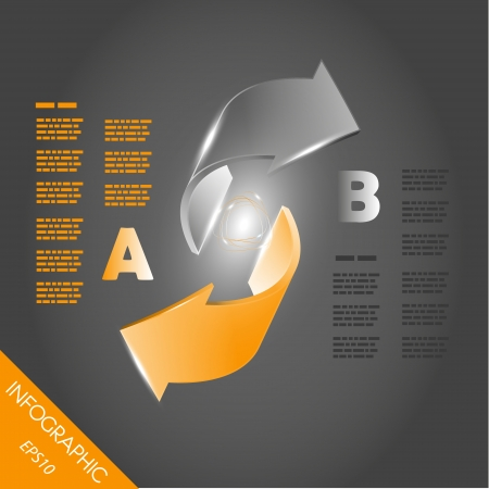 two orange shiny infographic 3D arrows. infographic concept. Vector