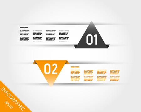 two orange triangular infographic stickes. infographic concept. Vector