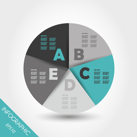 five element: turquoise infographic ring with five options. infographic concept.