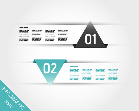 two turquoise triangular infographic stickers. infographic concept.