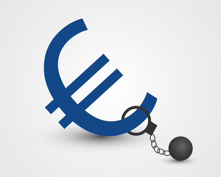 shackled: euro in chain  euro in chain concept Illustration