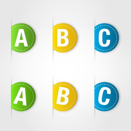 alpha: colorful labels. colorful labels concept.