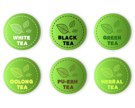 oolong: tea buttons. tea buttons concept Illustration