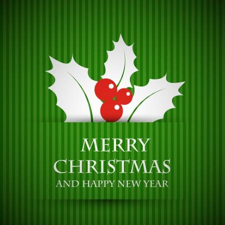 ilex: green ilex card. christmas card concept.  Illustration