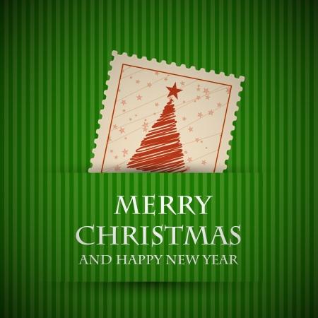 christmas card background: green stamp christmas card. christmas concept.