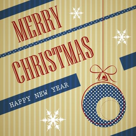 blue stripped square vintge christmas card Vector