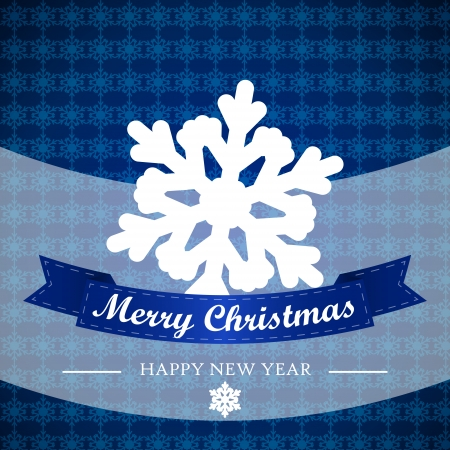 blue winter background with snowflakes and ribbon. christmas card.  Vector