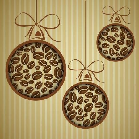 koffie kerstballen. Kerst concept.