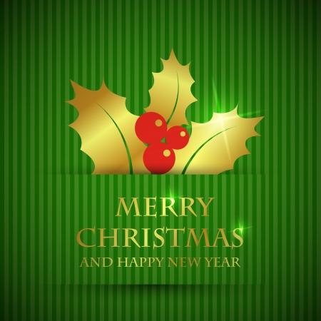 ilex: golden ilex card. christmas card concept.