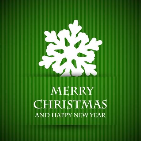 christmas ribbon: green snowflake christmas card. christmas card.