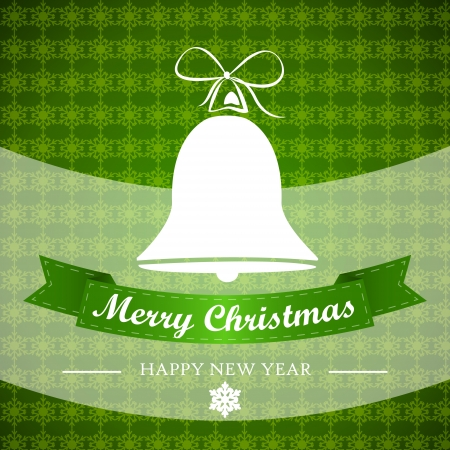 red christmgreen winter background with bell and ribbon. christmas card.  Vector