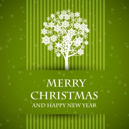 green banned christmas card with christmas tree. christmas card.  向量圖像