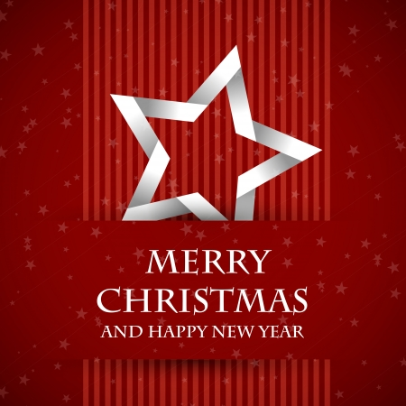 christmas cards: red banned christmas card with star. christmas card.