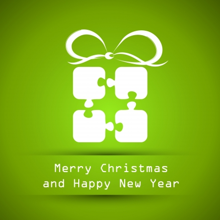 green christmas frame with puzzle gift. christmas card.  Vector