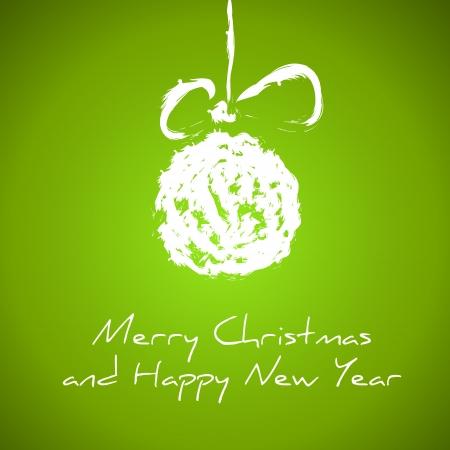 season's greeting: green drawing christmas card with christmas ball. christmas card.  Illustration