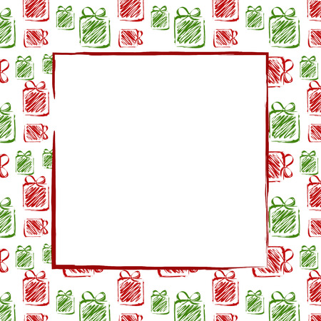 surprise box: green red drawing gifts frame. christmas card.  Illustration
