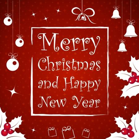 campanas de navidad: navidad marco rojo. tarjeta de Navidad.