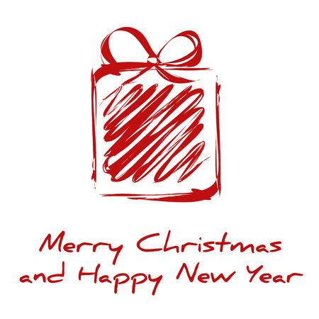 rode nieuwe tekening geschenken kaart. kerstkaart.