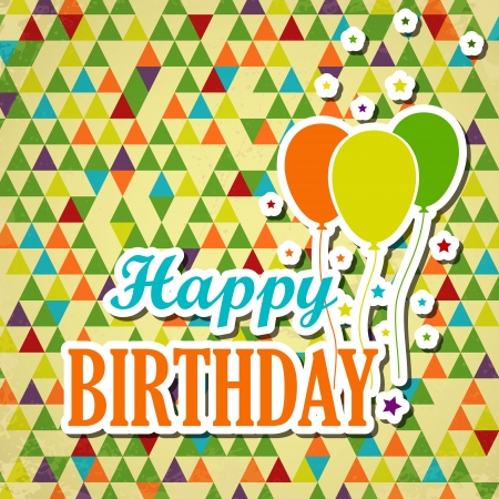 colorful triangular happy birthady card with balloons. happy birthday concept Vector