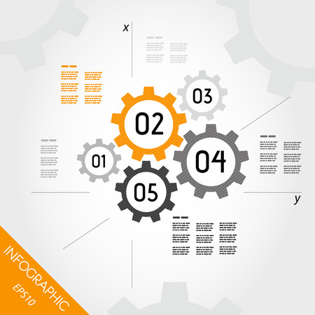 five orange infographic gears with axis. infographic concept. Illustration