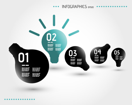 five turquoise infographic bulbs. infographic concept. Иллюстрация