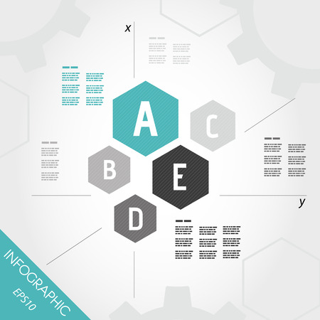 five turquoise infographic hexagons with axis. infographic concept.