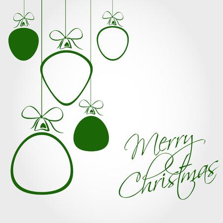 透明な球と緑のクリスマス カード。クリスマスの概念