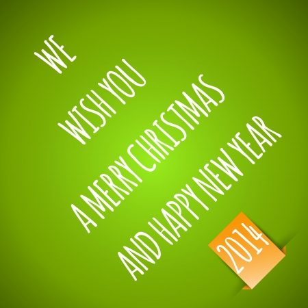 hollidays: green merry christmas card with orange sticker. christmas concept Illustration
