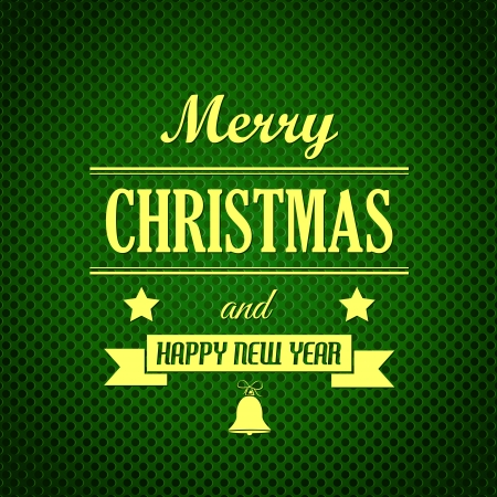 hollidays: green steel dotted christmas card with ribbon. christmas concept