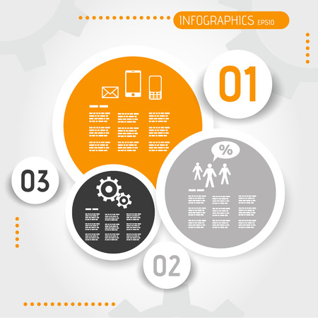 orange circle infographic template with buttons. infographic concept. 向量圖像