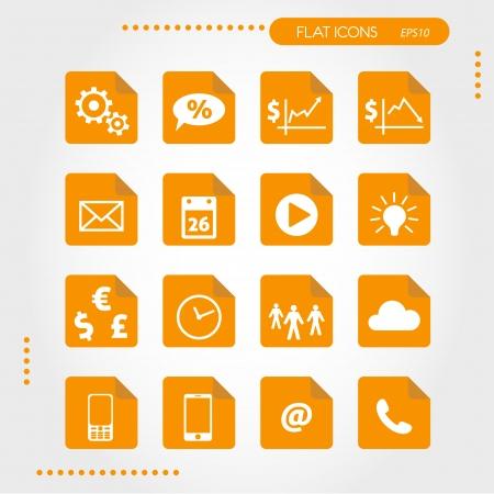 orange flat business icons. infographic concept. Illustration