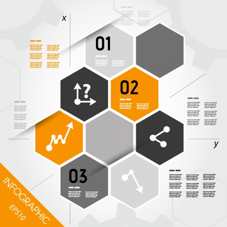 info business: orange infographic hexagons with axis. infographic concept.