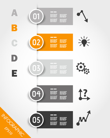 orange infographic stickers with buttons and icons. infographic concept. Stock Illustratie