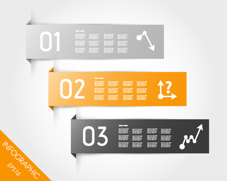orange three infographic stickers. infographic concept.