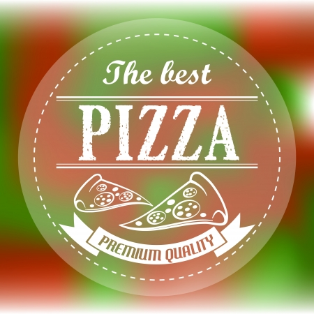 red and green abstract pizza label. pizza concept Vector