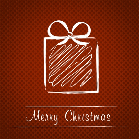 hollidays: red steel dotted christmas card with gift. christmas concept