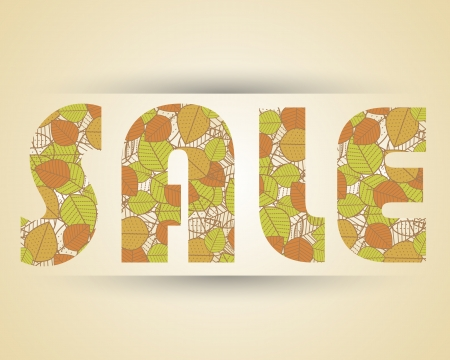 sale with leaves. sale concept Vector