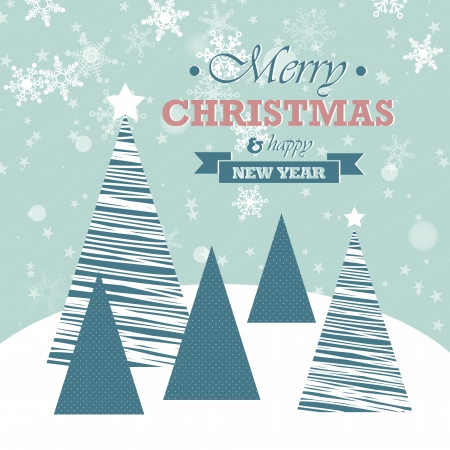 blue christmas card with falling snowflakes and trees. christmas concept Vector