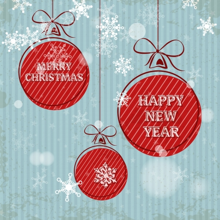 blue retro christmas card with falling snowflakes and red balls. christmas concept Vector