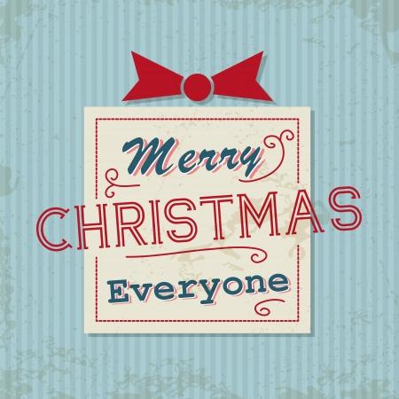 hollidays: blue retro christmas card with gift. christmas concept